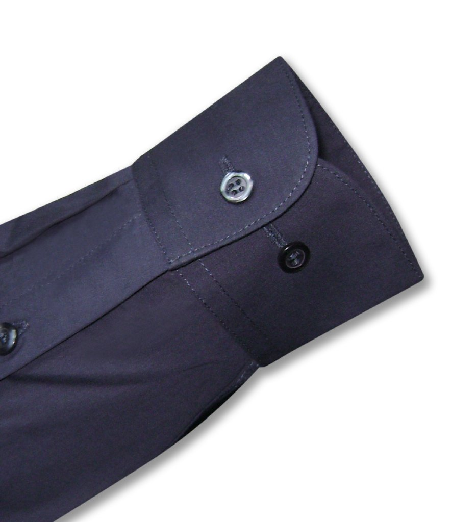 Biagio Men's 100% COTTON Solid NAVY BLUE Color Dress Shirt w/ Convertible Cuffs