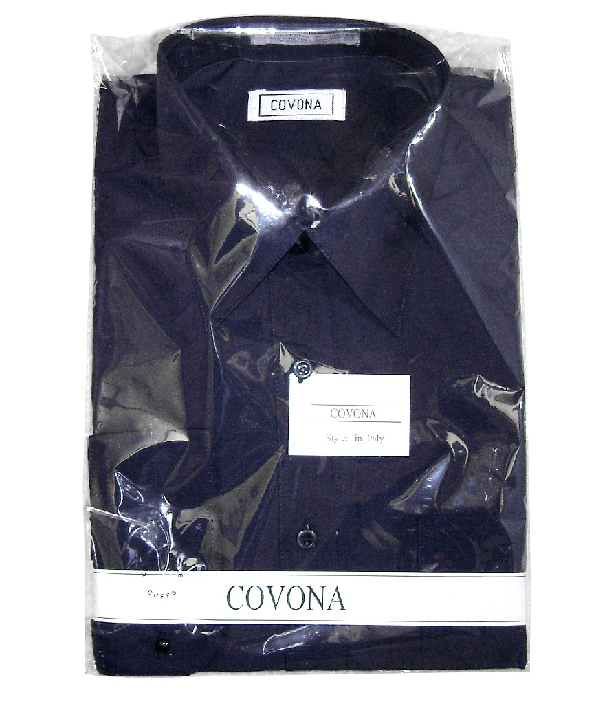 Covona Mens Solid Naby Blue Color Dress Shirt with Convertible Cuffs