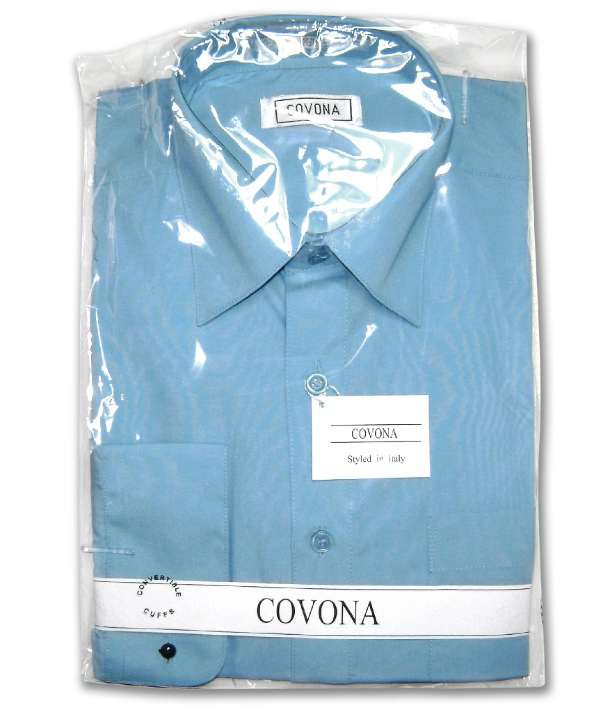 Mens Solid Peacock Blue Color Dress Shirt with Convertible Cuffs