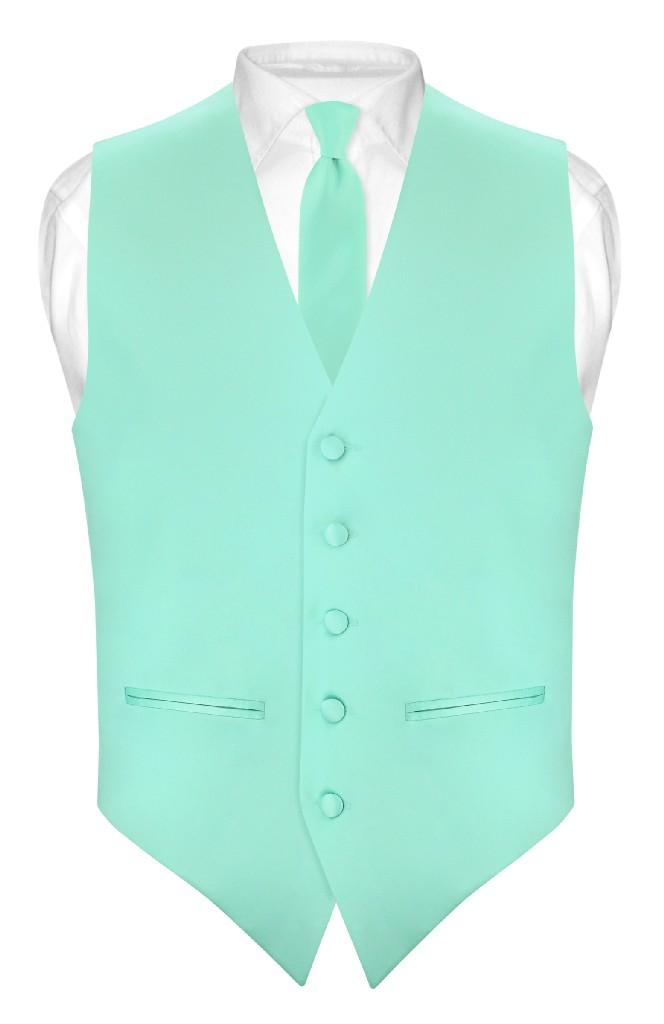 Slim Fit Aqua Green Vest   Mens Solid Color Dress Vest Tie Hanky Set