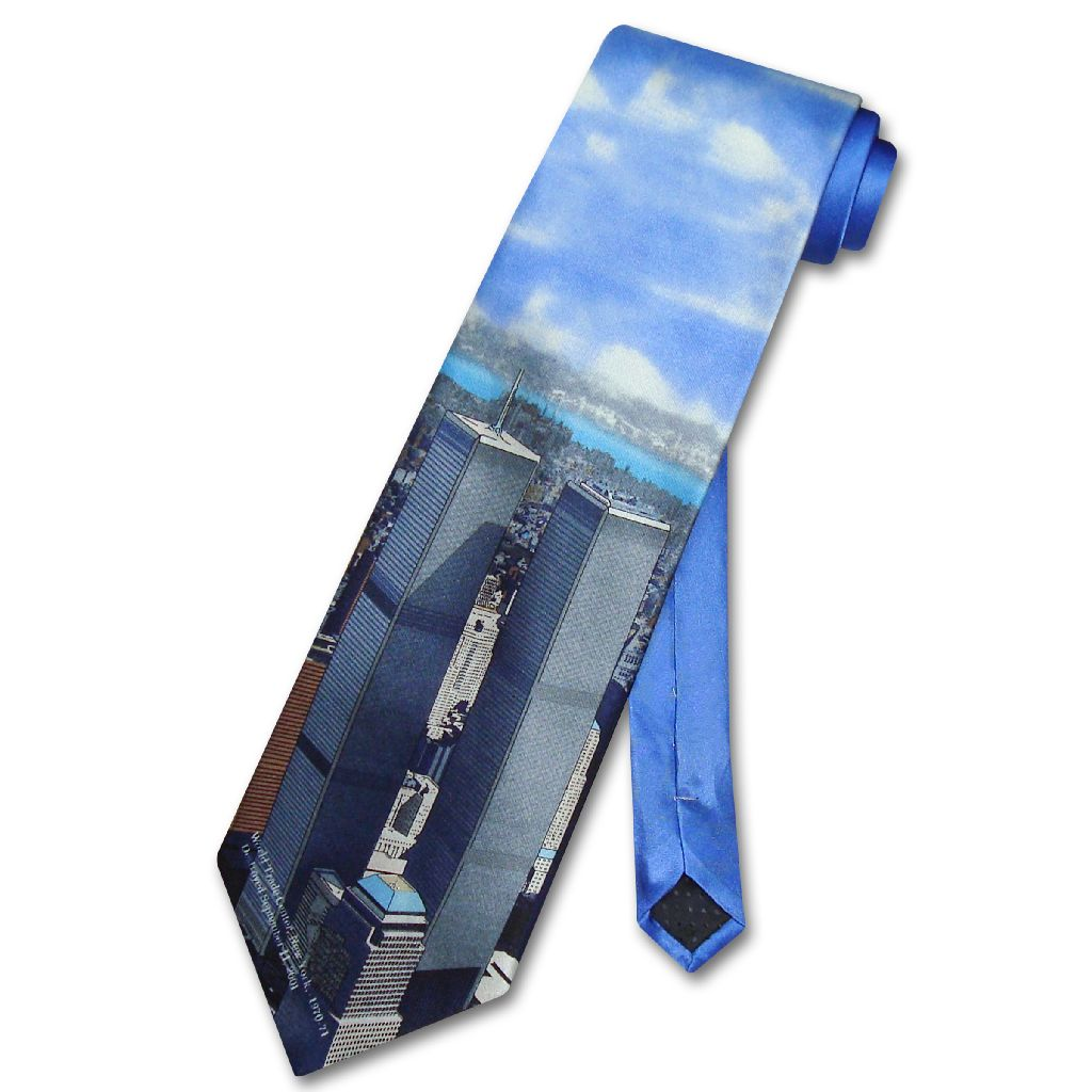 WORLD TRADE Center 100% Silk NeckTie TWIN Towers Mens Neck Tie