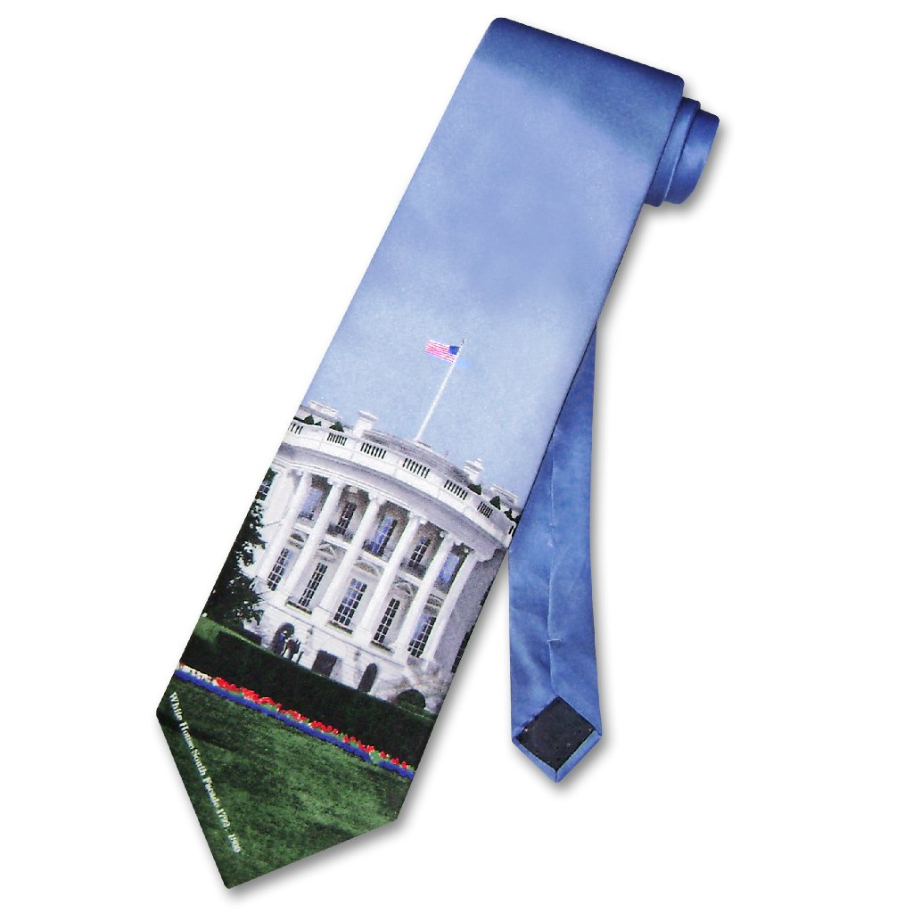 White House 100% Silk NeckTie Home of US President Mens Neck Tie