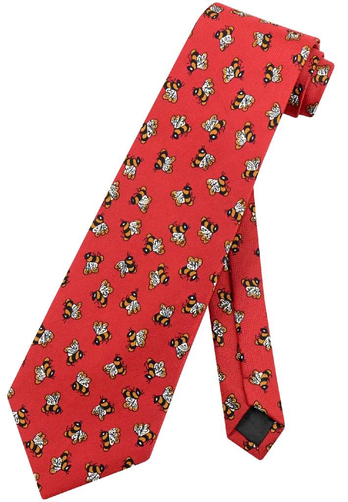 Bees Men's NeckTie | Honey Bees Red Background Mens Neck Tie