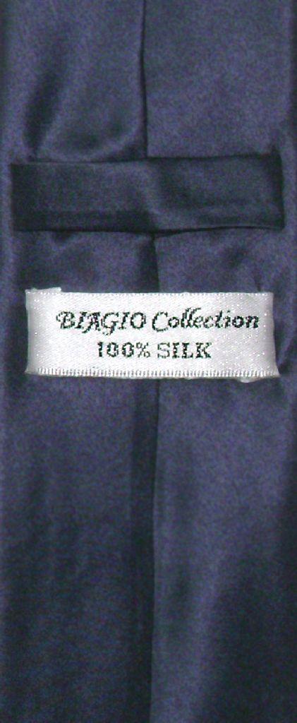 Biagio 100% Silk Narrow NeckTie Skinny Navy Blue Color Mens Neck Tie