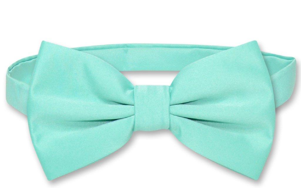 Mens Dress Vest & BowTie Solid Aqua Green Color Bow Tie Set
