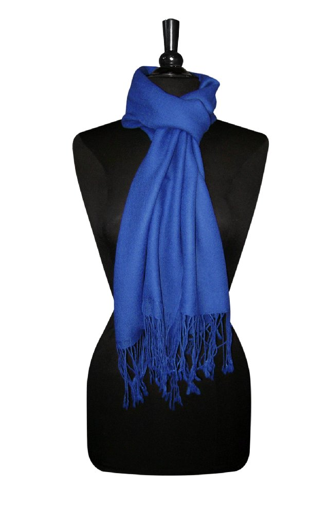 Biagio 100% Wool Pashmina Solid Scarf ROYAL BLUE Color Women's Shawl Wrap Scarve