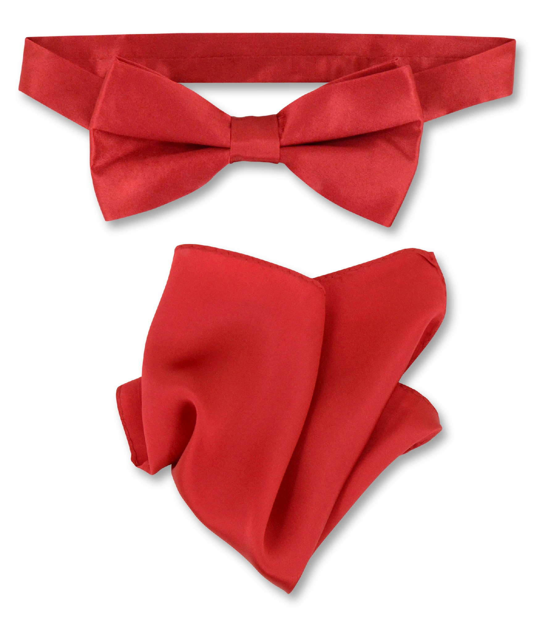 Rose Red Bow Tie And Handkerchief Set | Silk BowTie Hanky Set
