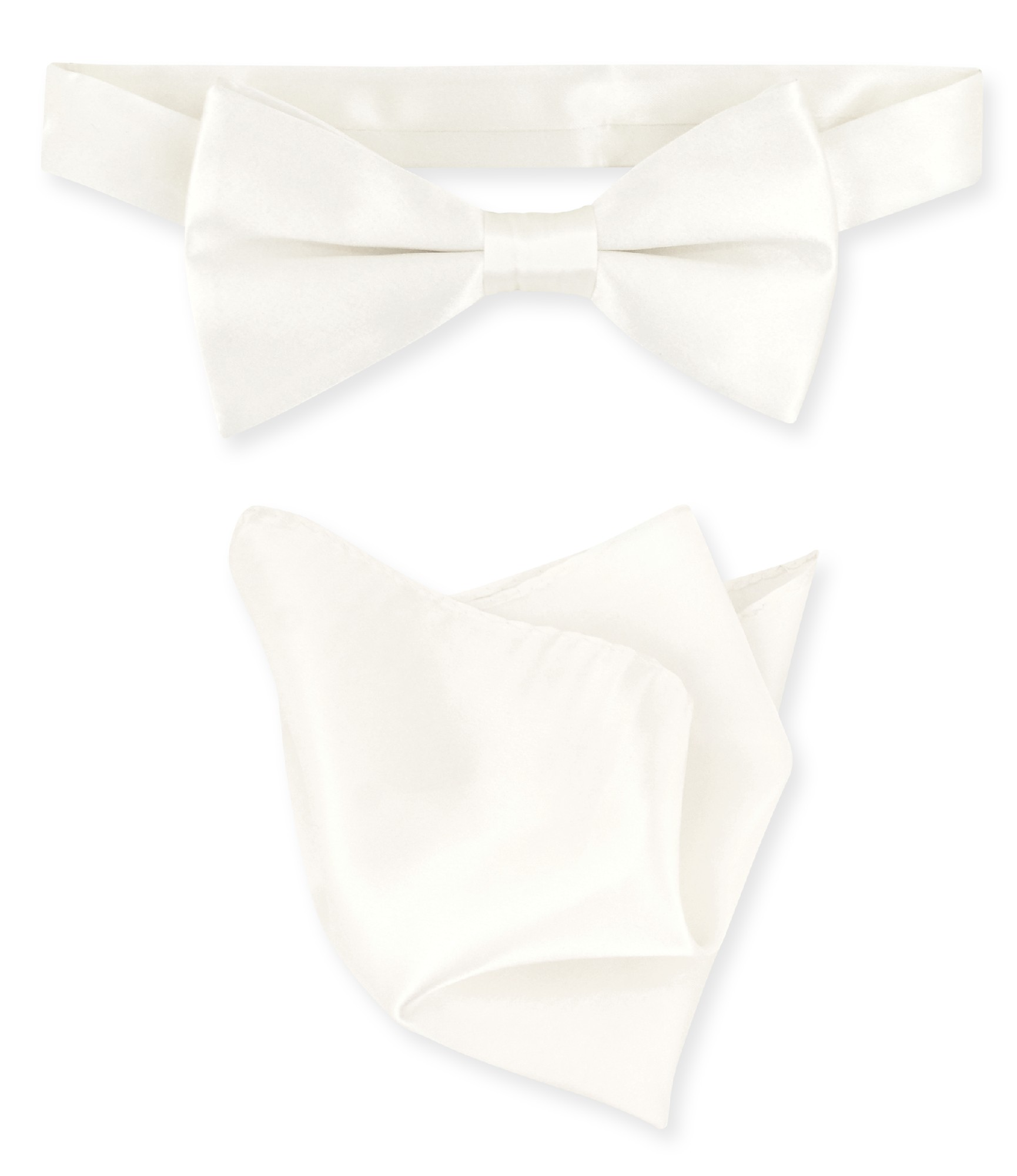 Off-White Ivory Bow Tie Handkerchief Set | Silk BowTie Hanky Set