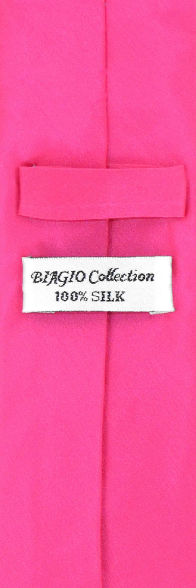 Hot Pink Fuchsia Skinny Tie Handkerchief Set | Silk Tie Hanky Set