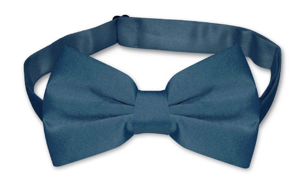 Mens Dress Vest & BowTie Solid Blue Sapphire Color Bow Tie Set