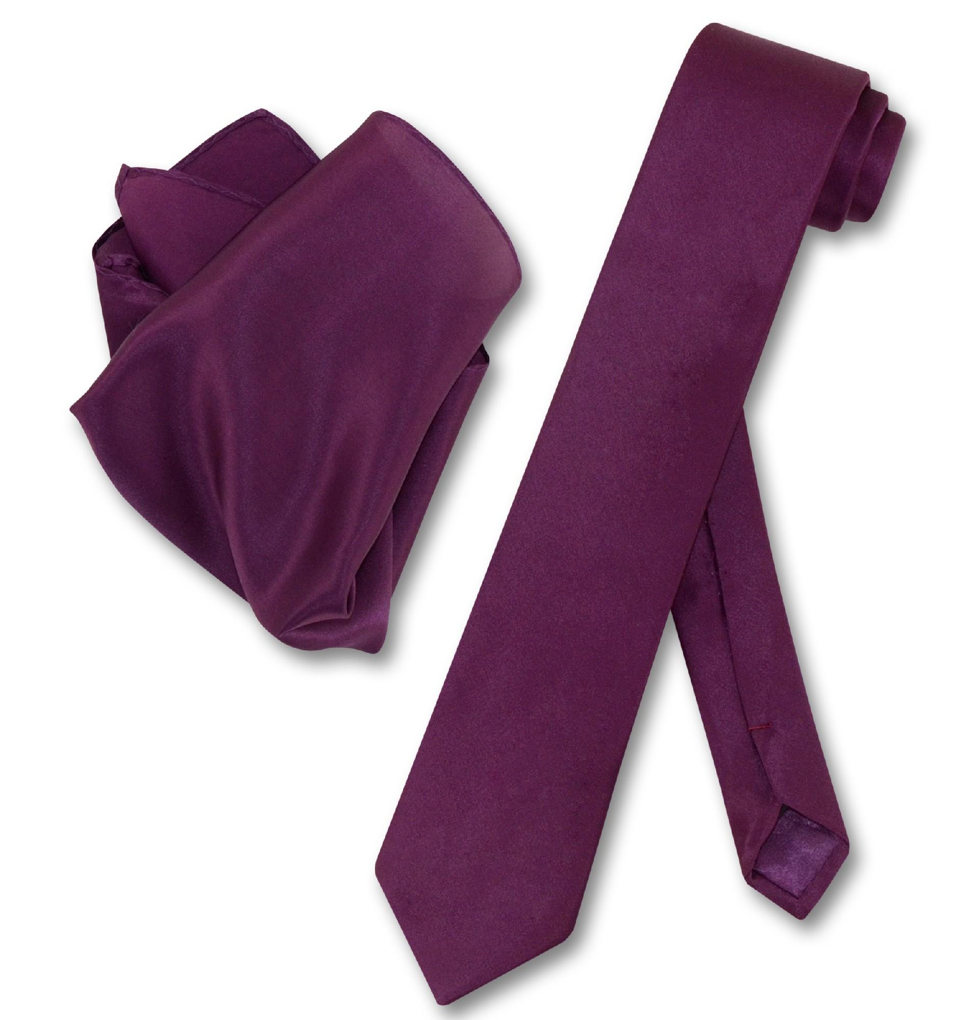 f713d2a071bac ... Biagio 100% Silk Skinny NeckTie Eggplant Purple Mens 2.5