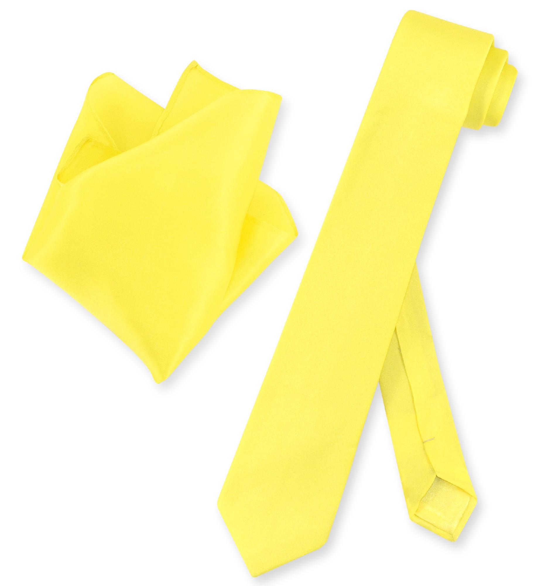 """Biagio 100% Silk Skinny NeckTie Solid Yellow Mens 2.5"""" Neck Tie & Handkerchief"""