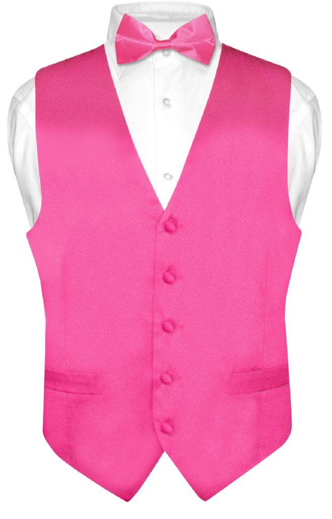 Biagio Mens Silk Dress Vest Bow Tie Solid Hot Pink Fuchsia BowTie Set