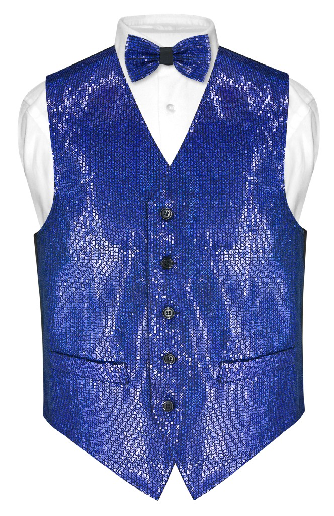 Mens SEQUIN Design Dress Vest & Bow Tie Royal Blue Color BowTie Set
