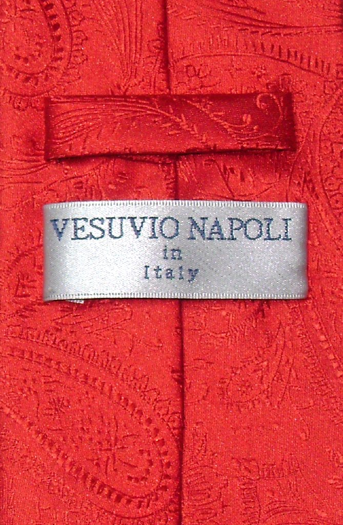 Vesuvio Napoli Red Paisley NeckTie & Handkerchief Mens Neck Tie Set