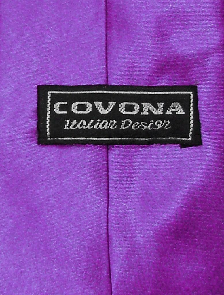 Covona NeckTie Solid Purple Indigo Violet Color Mens Neck Tie