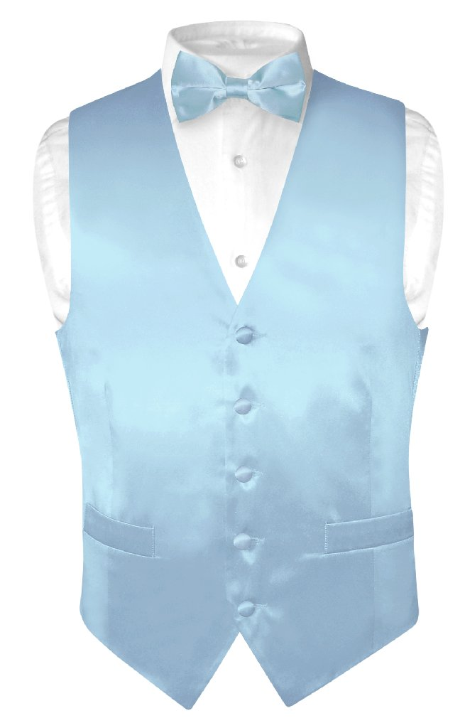 Biagio Mens Silk Dress Vest & Bow Tie Solid Baby Blue Color BowTie Set