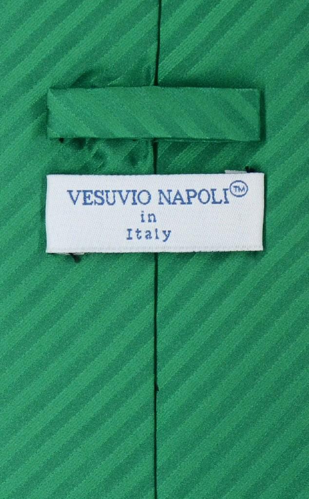 Vesuvio Napoli Emerald Green Striped NeckTie Handkerchief Neck Tie Set