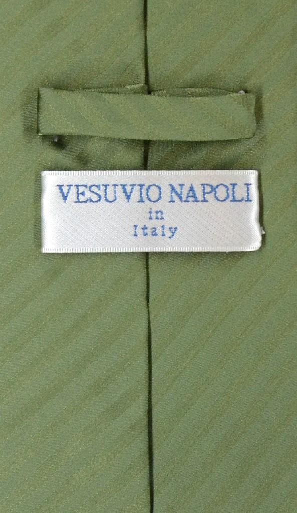 Vesuvio Napoli Olive Green Striped NeckTie & Handkerchief Neck Tie Set