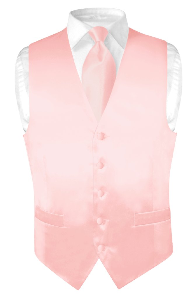 Biagio Men Silk Dress Vest NeckTie Solid Light Pink Color Neck Tie Set