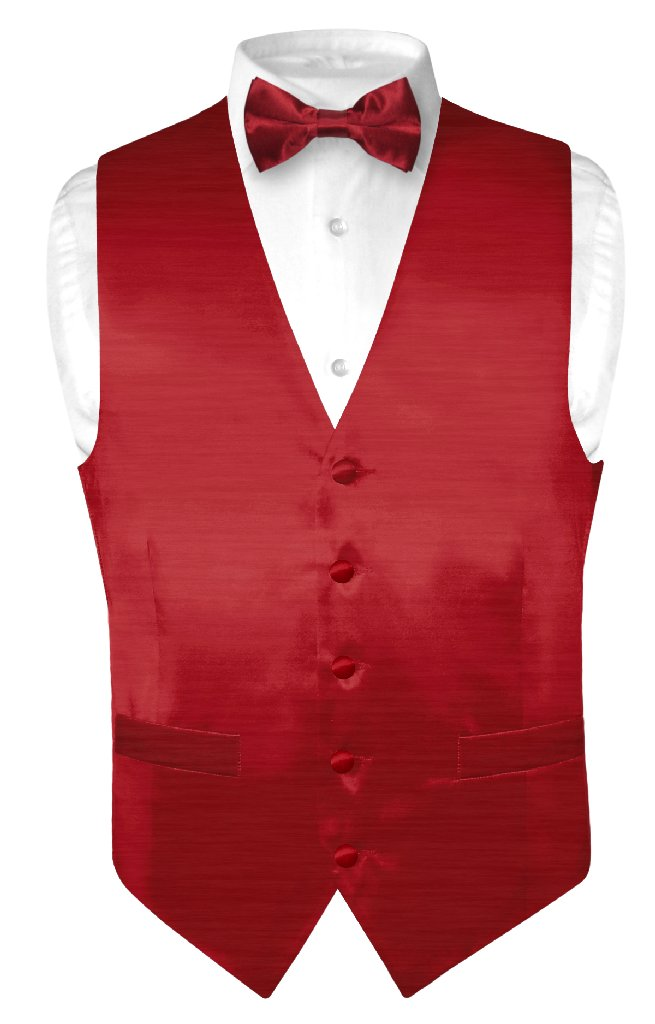 Biagio Men's Solid DARK RED BAMBOO SILK Dress Vest Bow Tie Set for Suit or Tux