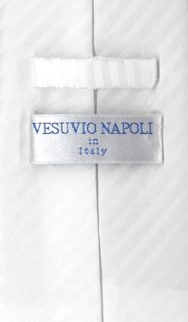 Vesuvio Napoli White Striped NeckTie & Handkerchief Neck Tie Set