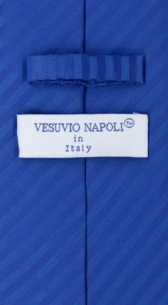Vesuvio Napoli Royal Blue Striped NeckTie & Handkerchief Neck Tie Set