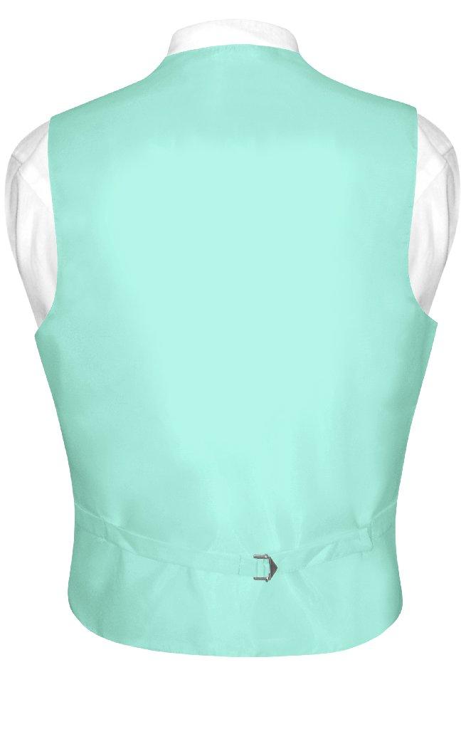 Mens Dress Vest & NeckTie Solid Aqua Green Color Neck Tie Set