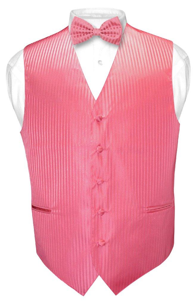 Mens Dress Vest BowTie Coral Pink Color Vertical Striped Bow Tie Set