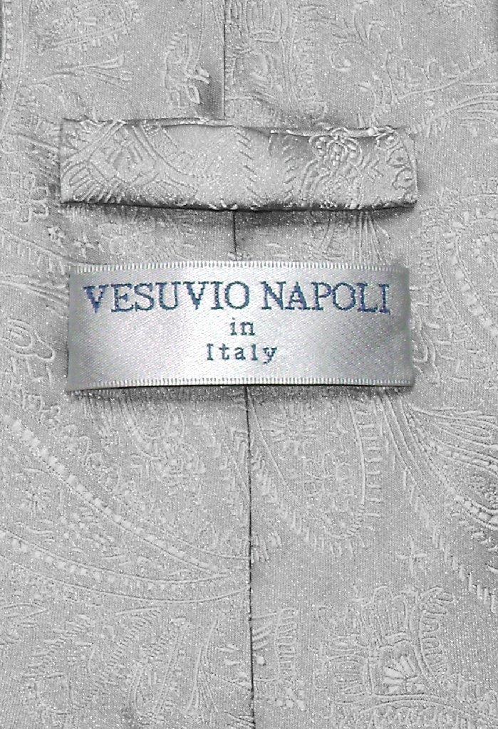 Vesuvio Napoli Silver Grey Paisley NeckTie & Handkerchief Neck Tie Set