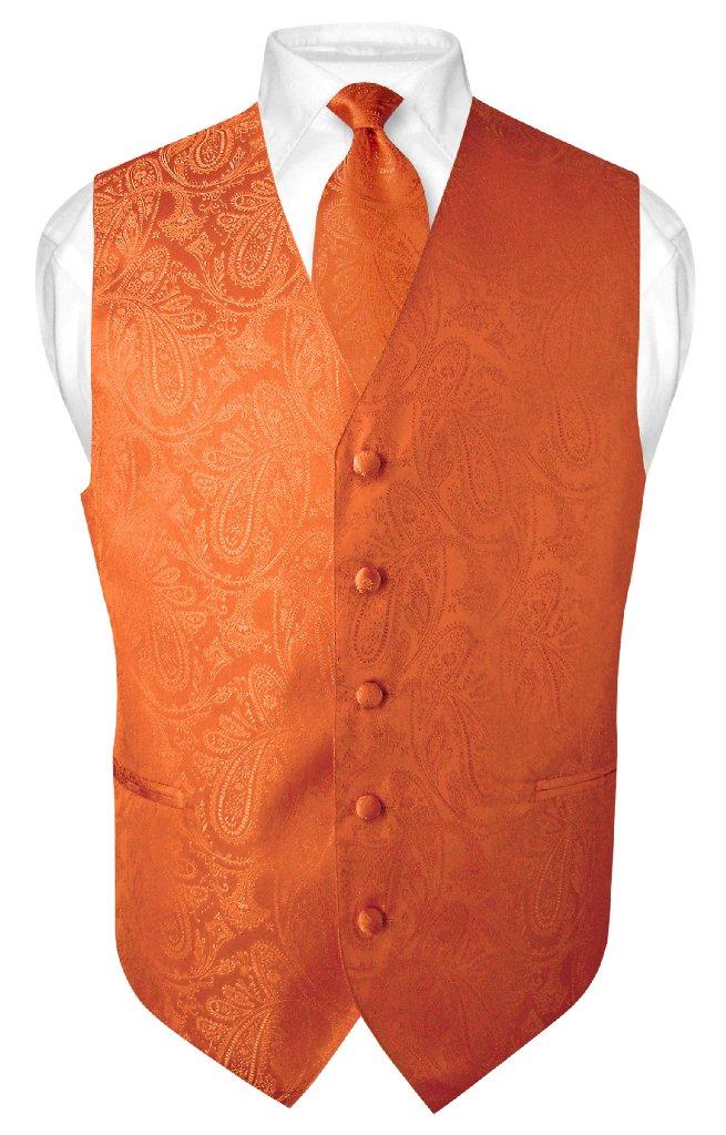 Mens Paisley Design Dress Vest NeckTie Burnt Orange Color Neck Tie Set