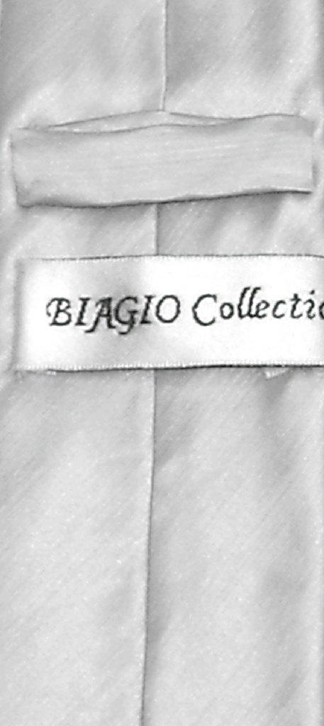Biagio Bamboo Silk Narrow NeckTie Skinny Silver Grey Mens Neck Tie