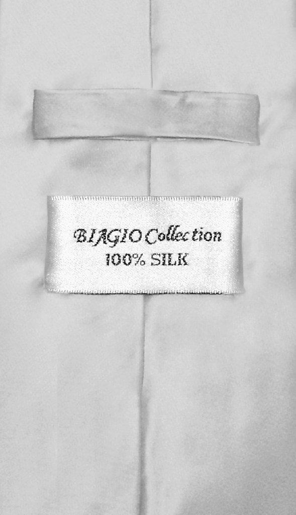 Biagio 100% Silk NeckTie Extra Long Solid Silver Grey Mens XL Neck Tie