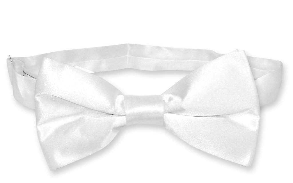 White Color Mens Bowtie | Biagio Silk Pre Tied Solid Colored Bow Tie