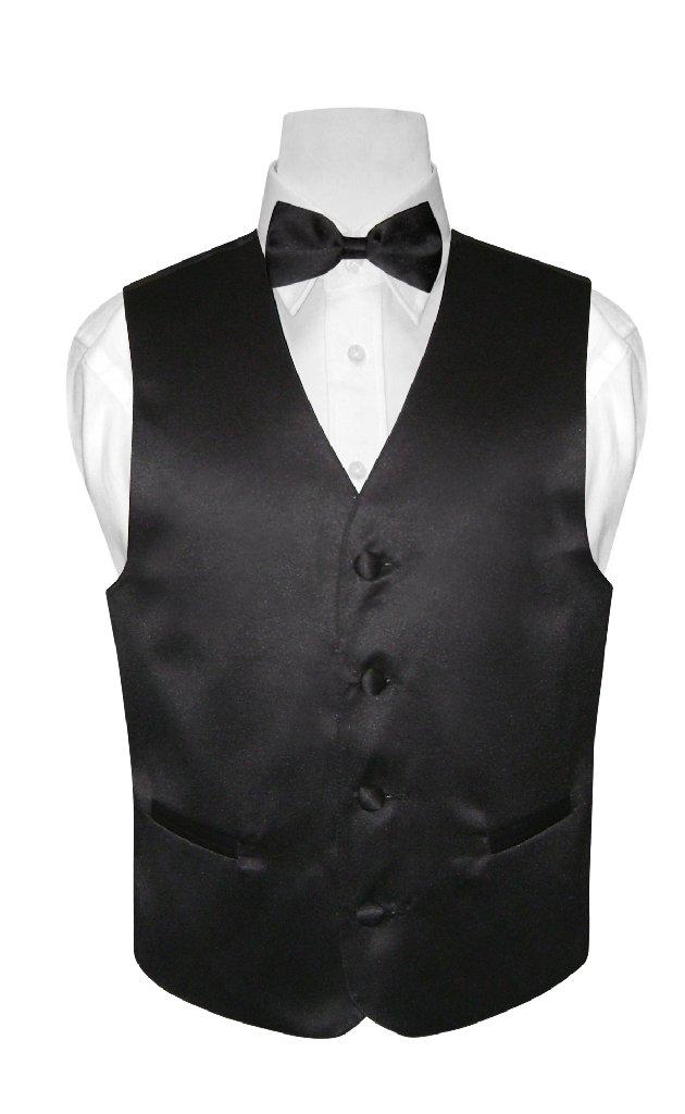 Boys Dress Vest Bow Tie Solid Black Color BowTie Set