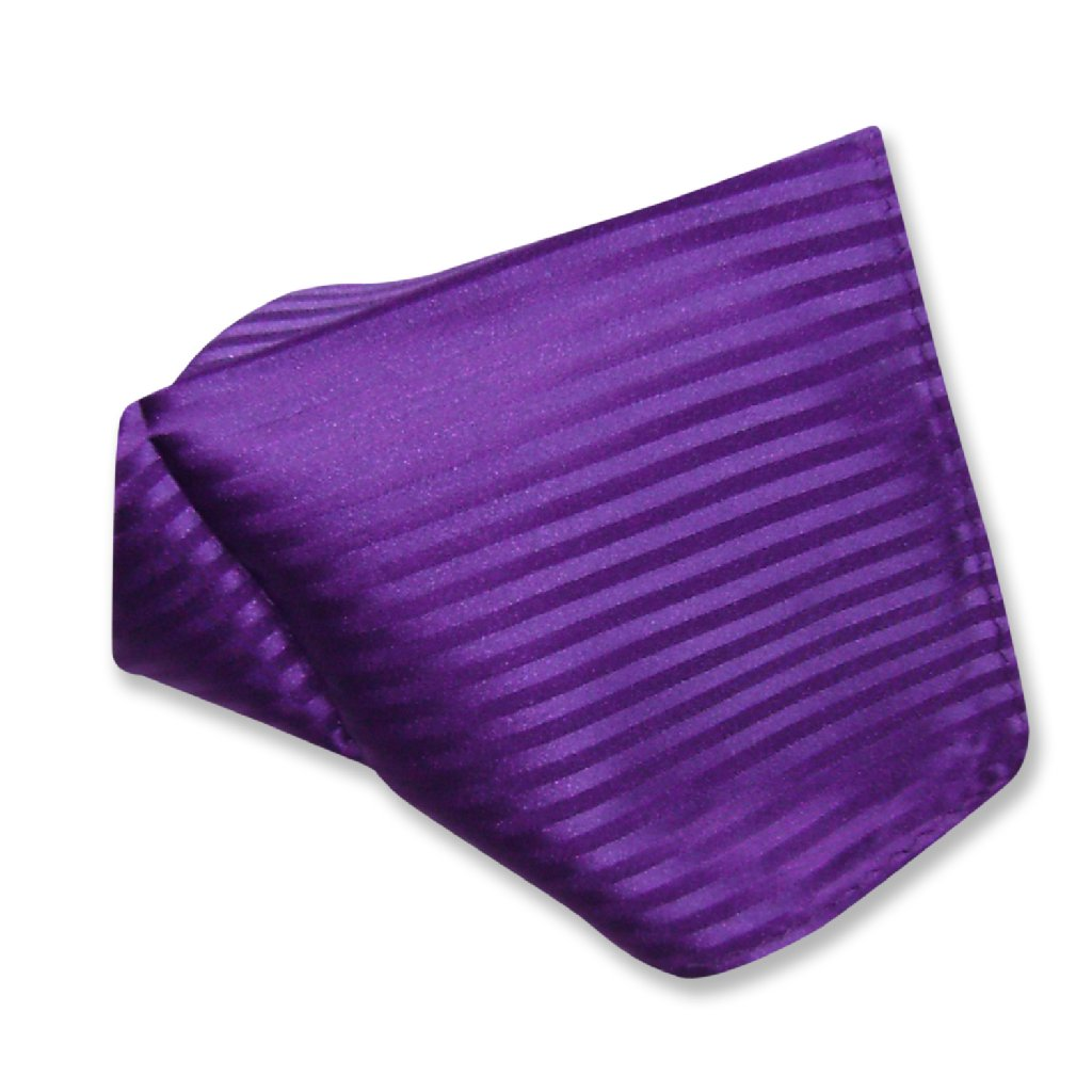 Mens Dress Vest & NeckTie Purple Color Vertical Striped Neck Tie Set