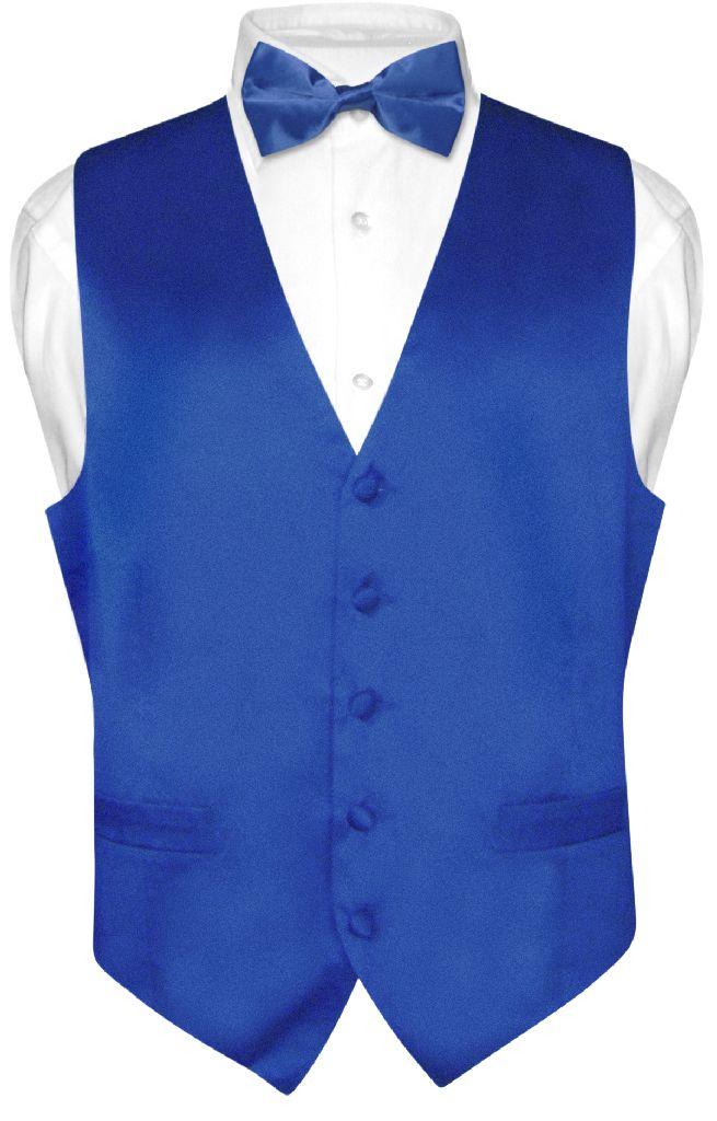 Biagio Mens Silk Dress Vest Bow Tie Solid Royal Blue Color BowTie Set