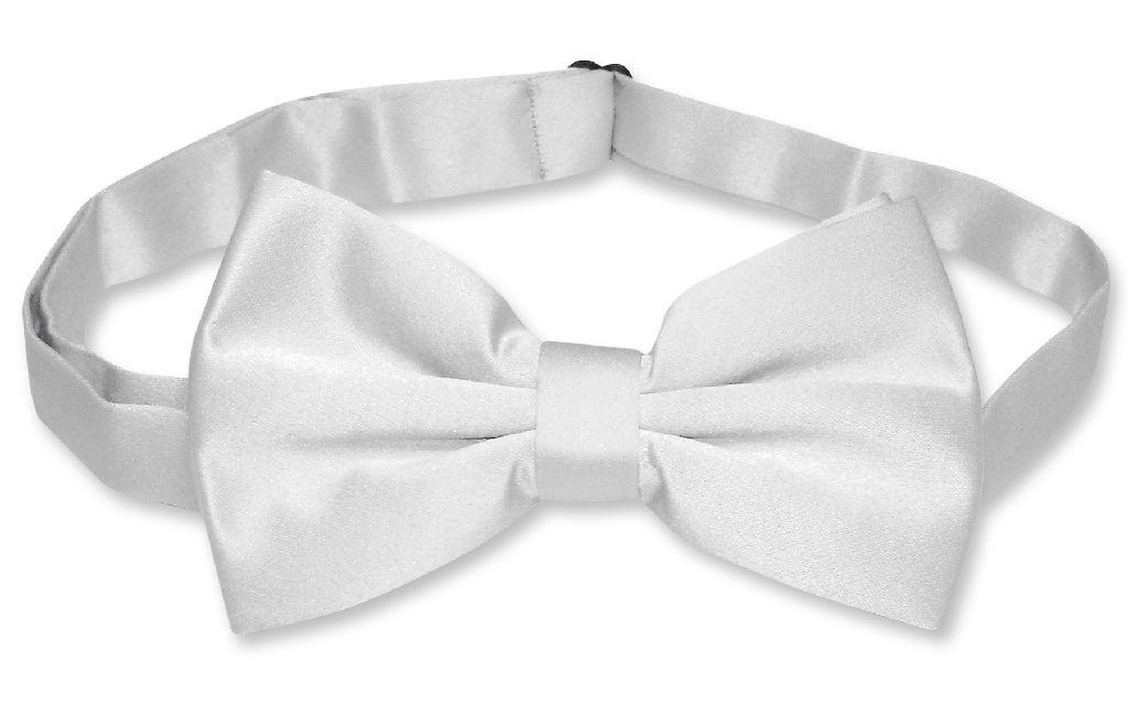 Mens Dress Vest & BowTie Solid Silver Gray Color Bow Tie Set
