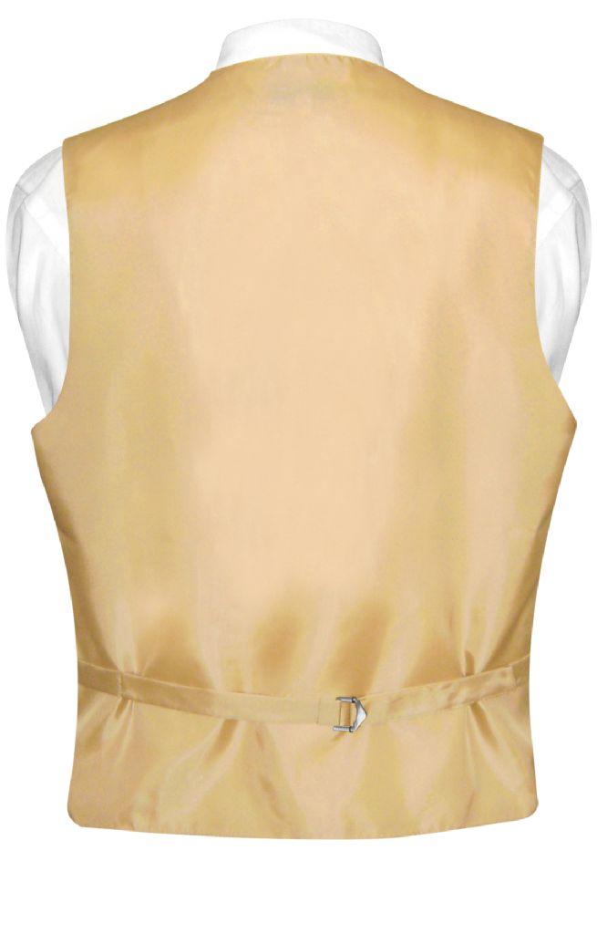 Mens Dress Vest & NeckTie Solid Gold Color Neck Tie Set