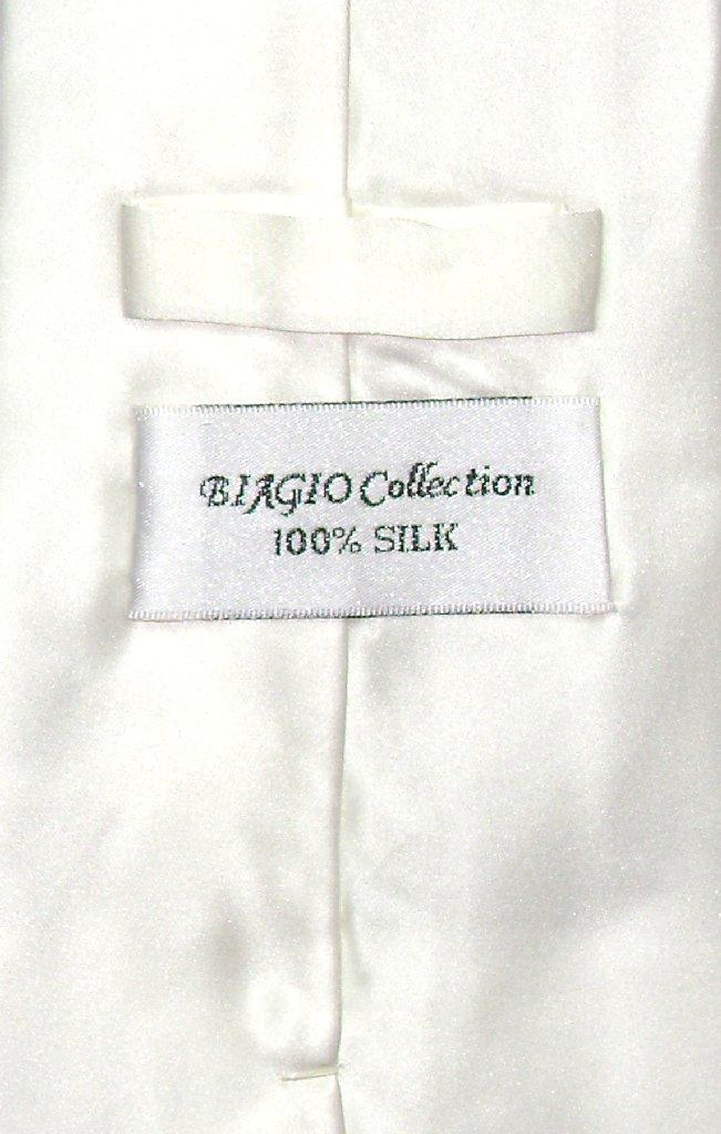 Biagio 100% Silk NeckTie Solid Off-White Ivory Color Mens Neck Tie