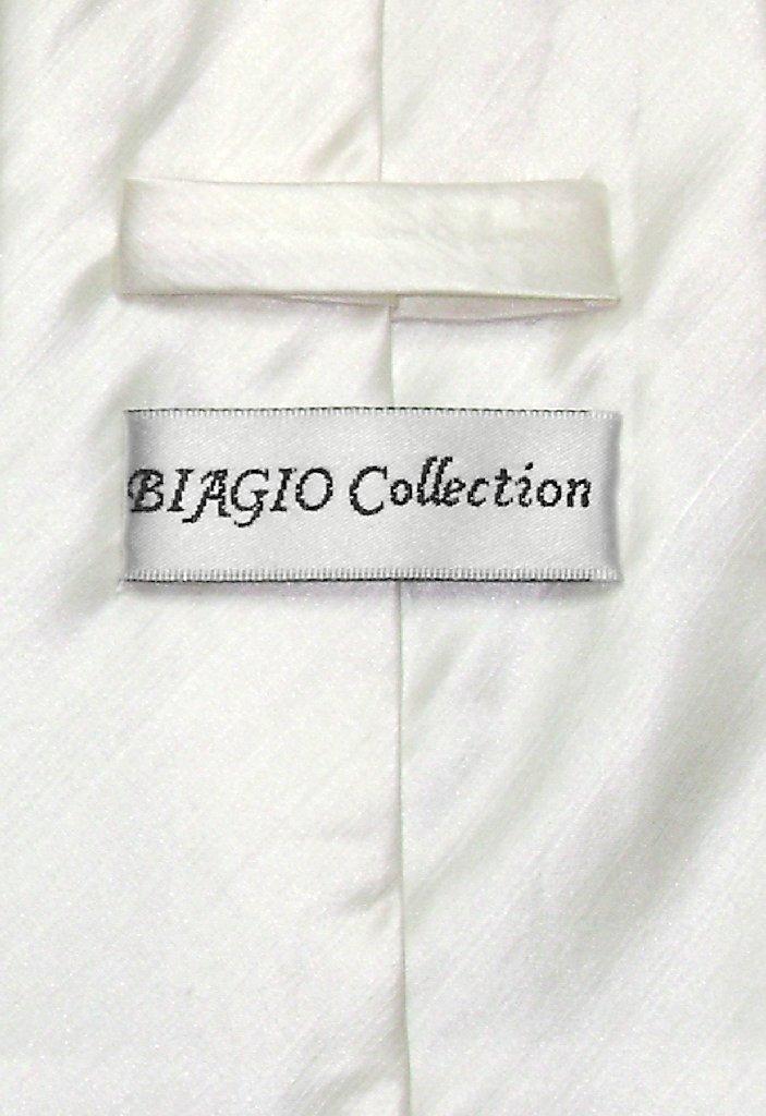 Biagio Mens Off-White Bamboo Silk Dress Vest Neck Tie Set sz Small