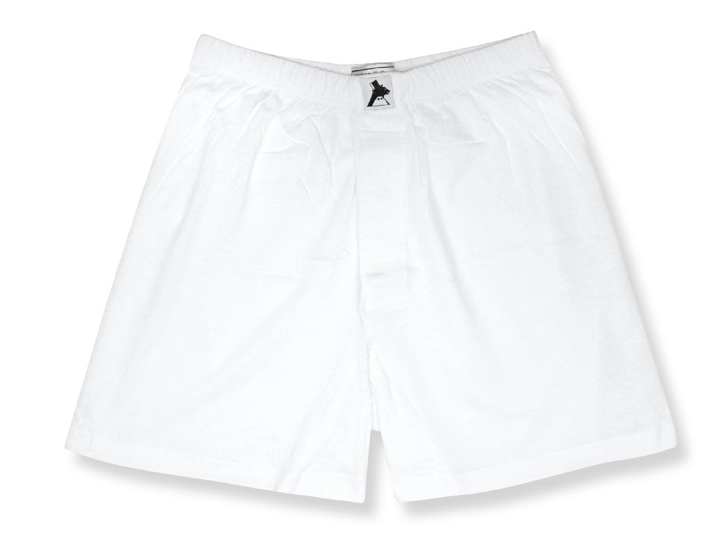 100% Knit Cotton Boxer Shorts | Biagio Mens Solid White Color Boxers