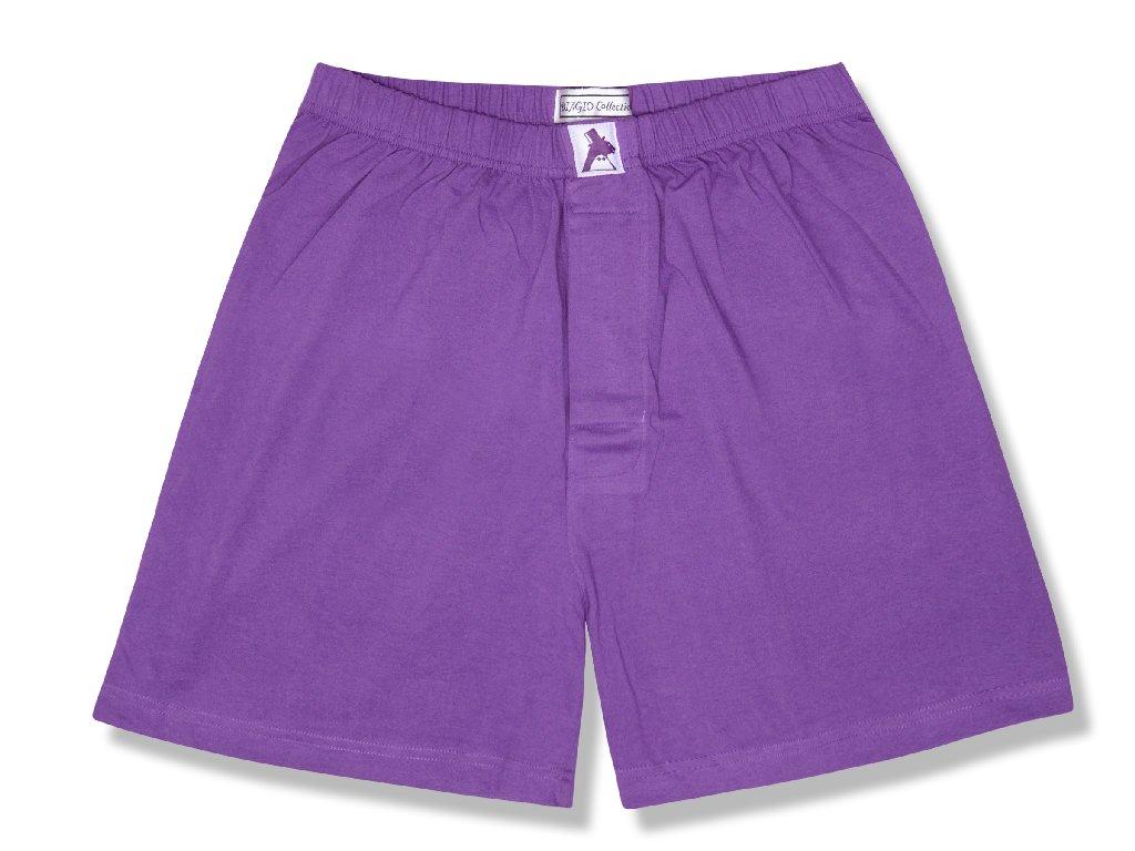 100% Knit Cotton Boxer Shorts | Biagio Mens Purple Indigo Boxers
