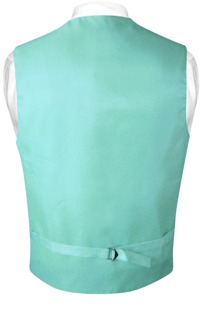 Mens Paisley Design Dress Vest & NeckTie Aqua Green Color Neck Tie Set