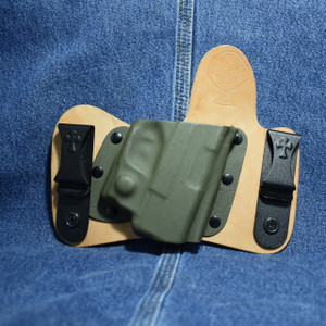 15017 CrossBreed MiniTuck SPRINGFIELD XDS with VIRIDIAN R5 ECR REACTOR / Right Hand / Horse / Drab Olive Green Pocket