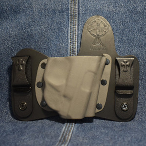 15291 CrossBreed MiniTuck SMITH & WESSON SHIELD 9/40 with CRIMSON TRACE LG-489G / Right Hand / Black Cow / Sniper Gray Pocket