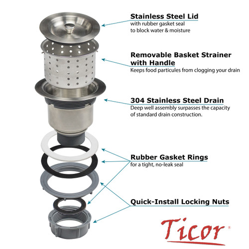 Ticor 3 5 Pull Out Kitchen Sink Waste Basket Strainer Drain Assembly With Lid Cover Ticor
