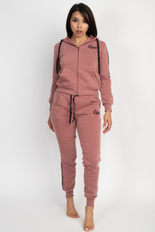 2 PC FULL ZIP SIDE STRIPE LOVE HOODIE/JOGGER SET.