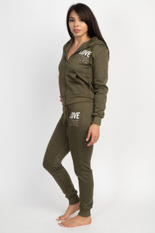 JR 2 PC LOVE MELANGE FULL ZIP HOODY/JOGGER SET.