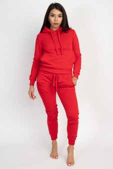 2 PC SOLID PULLOVER HOODY/JOGGER SET.